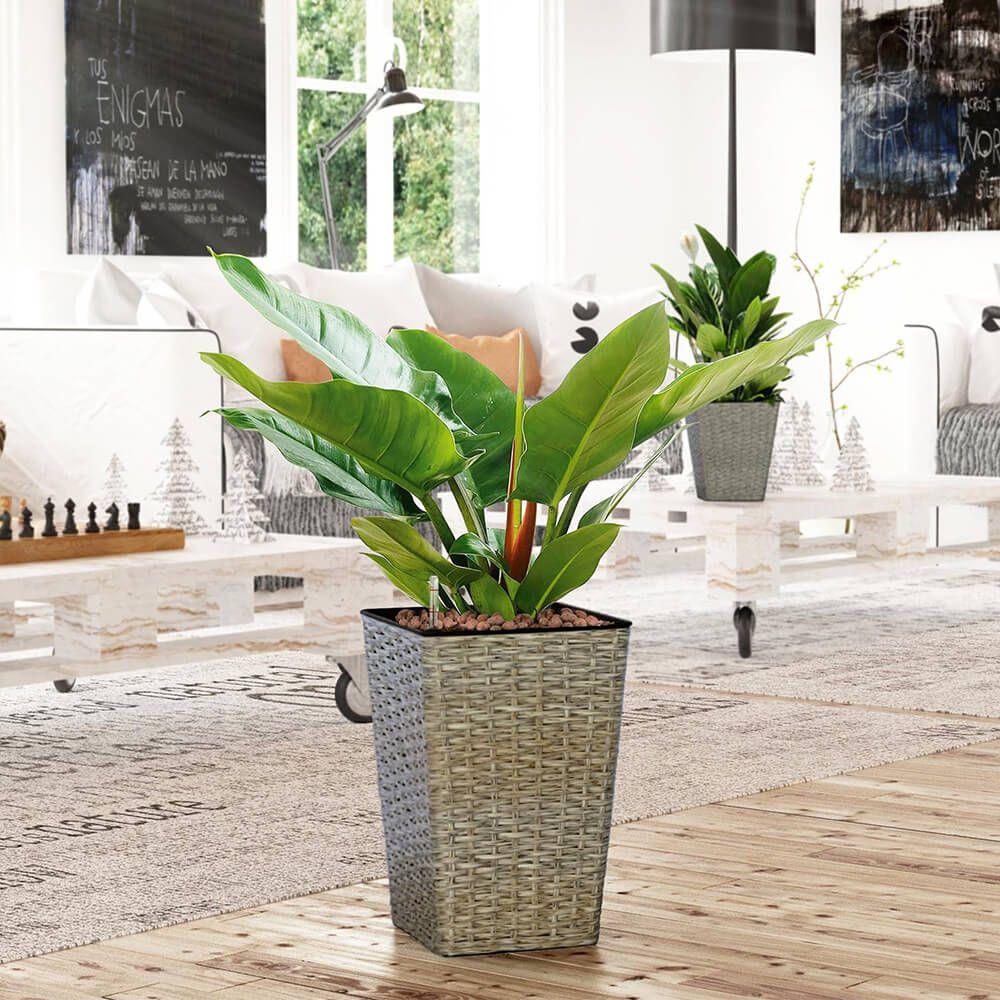 Thin Wicker Planter - Weaved Flat Planter Square 1