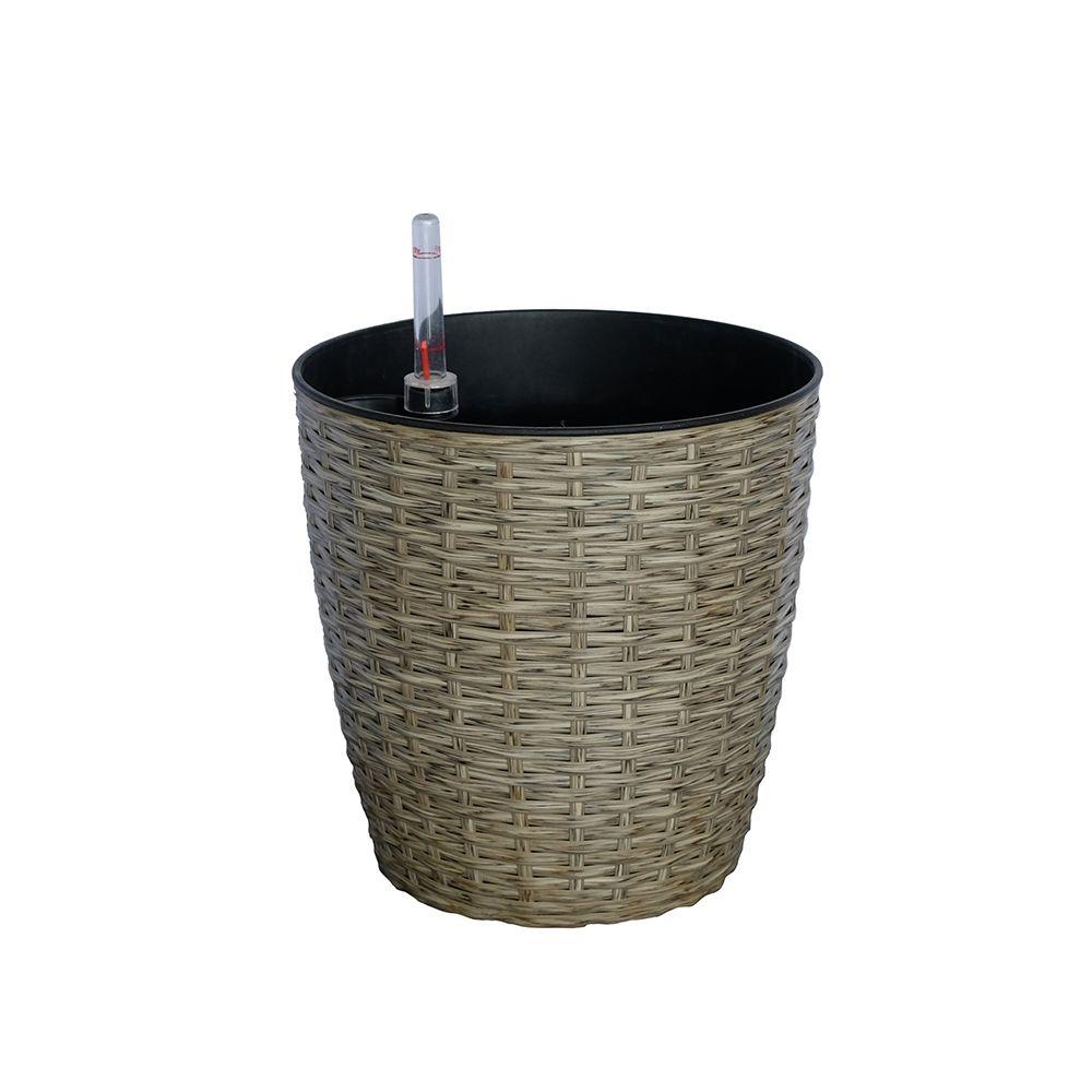 Thin Wicker Planter - Weaved Flat Planter Round Cone 1
