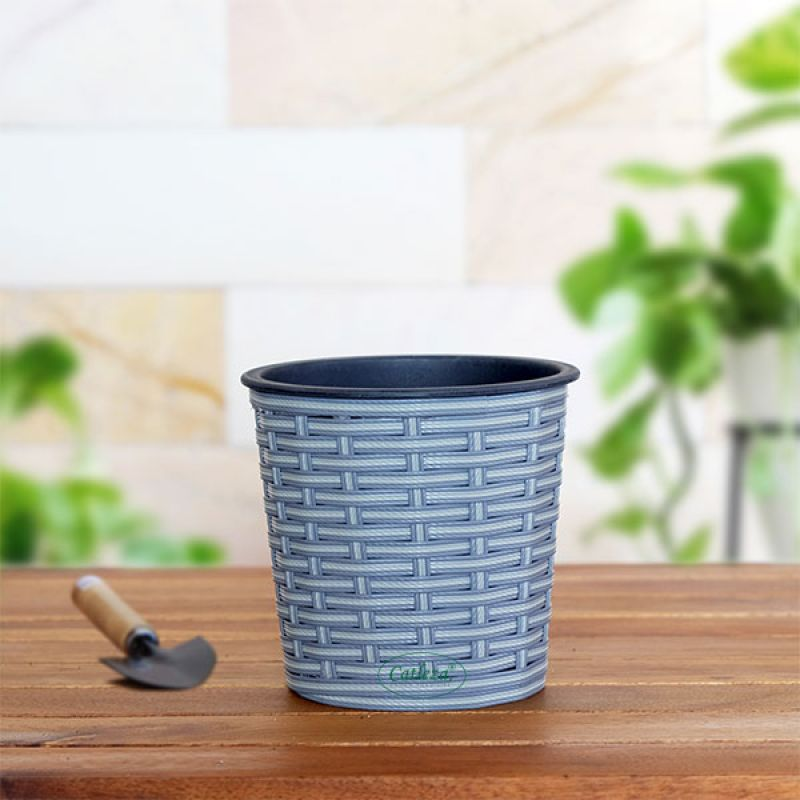Thin Wicker Planter - Weaved Flat Planter Round