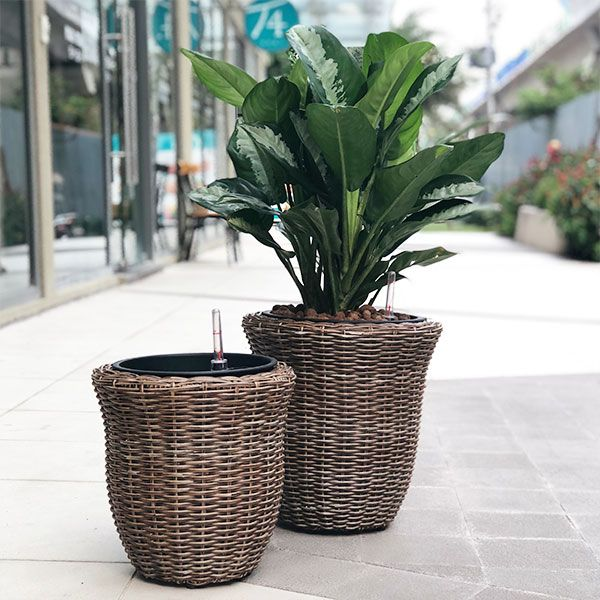 Steel Frame - Weaved Flat Planter Round Cone Weaved Flat Wicker